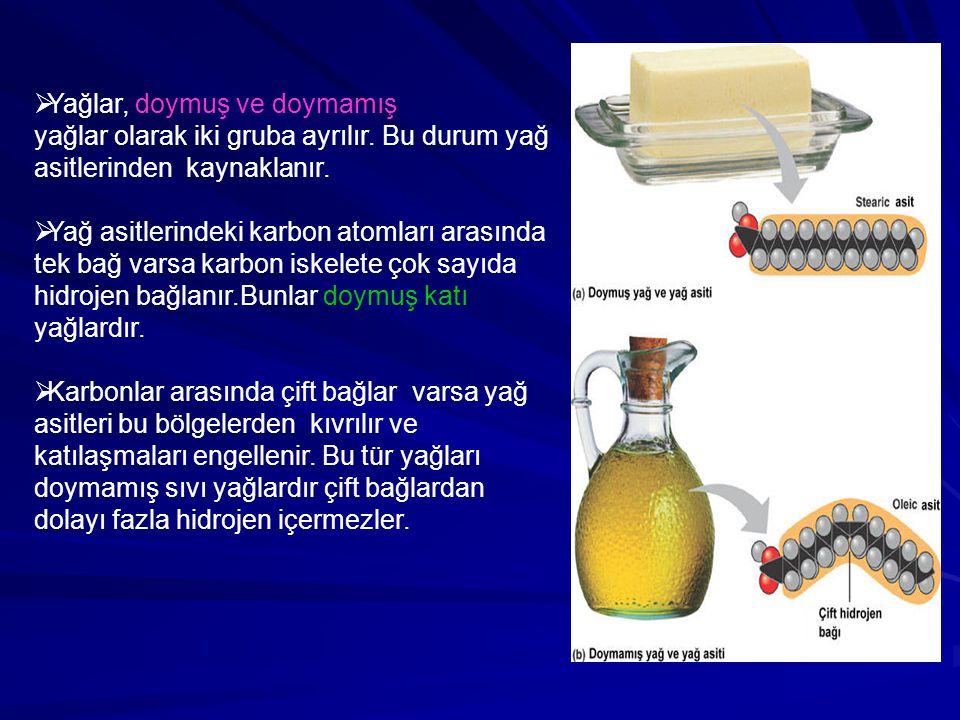  Yağlar, doymuş ve doymamış yağlar olarak iki gruba ayrılır. Bu durum yağ asitlerinden kaynaklanır.  Yağ asitlerindeki karbon atomları arasında tek