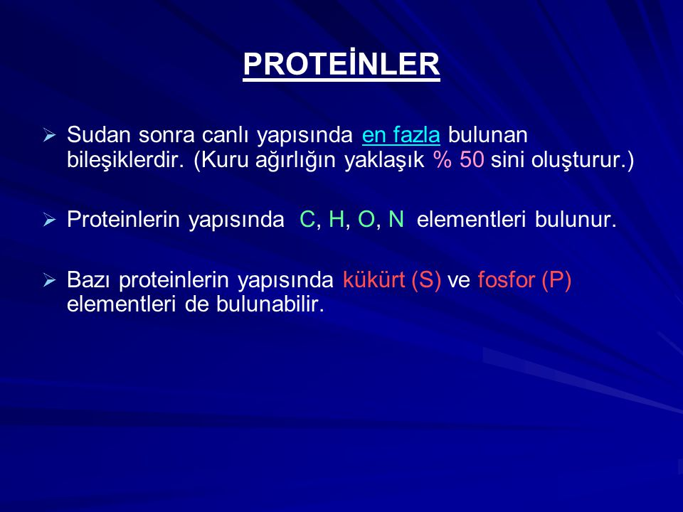 PROTEİNLER   Sudan sonra canlı yapısında en fazla bulunan bileşiklerdir. (Kuru ağırlığın yaklaşık % 50 sini oluşturur.)   Proteinlerin yapısında C