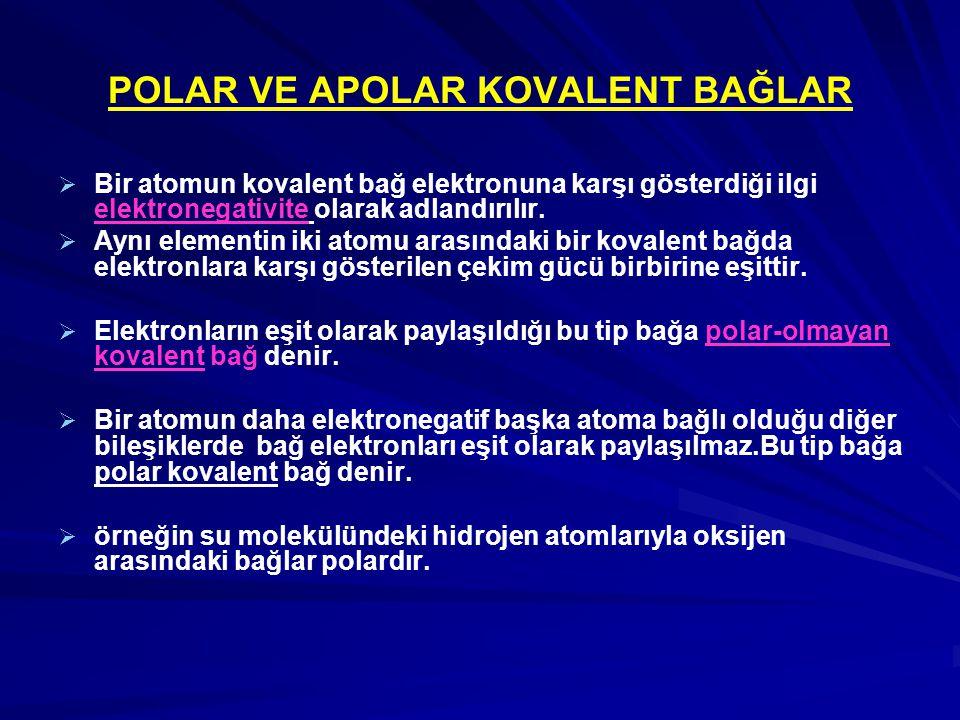 POLAR VE APOLAR KOVALENT BAĞLAR   Bir atomun kovalent bağ elektronuna karşı gösterdiği ilgi elektronegativite olarak adlandırılır.   Aynı elementi