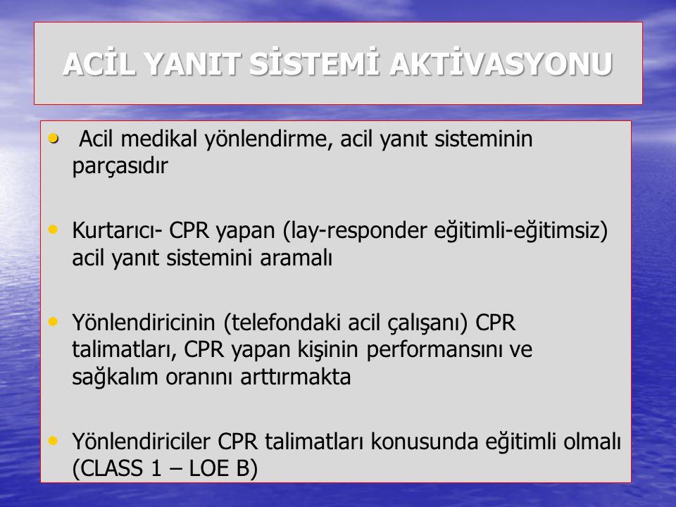 Yaşam zincirinin önemli halkaları 1 2 3 4 Erken arama Erken CPR Erken CPR Erken defibrilasyon Erken defibrilasyon