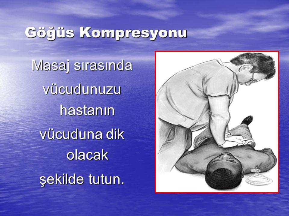 Göğüs Kompresyonu Uygun el pozisyonu, Uygun el pozisyonu, 4-5 cm çöktür, (1,5-2 inch) 4-5 cm çöktür, (1,5-2 inch) Çocuklarda toraksın ½-1/3'ü Çocuklar