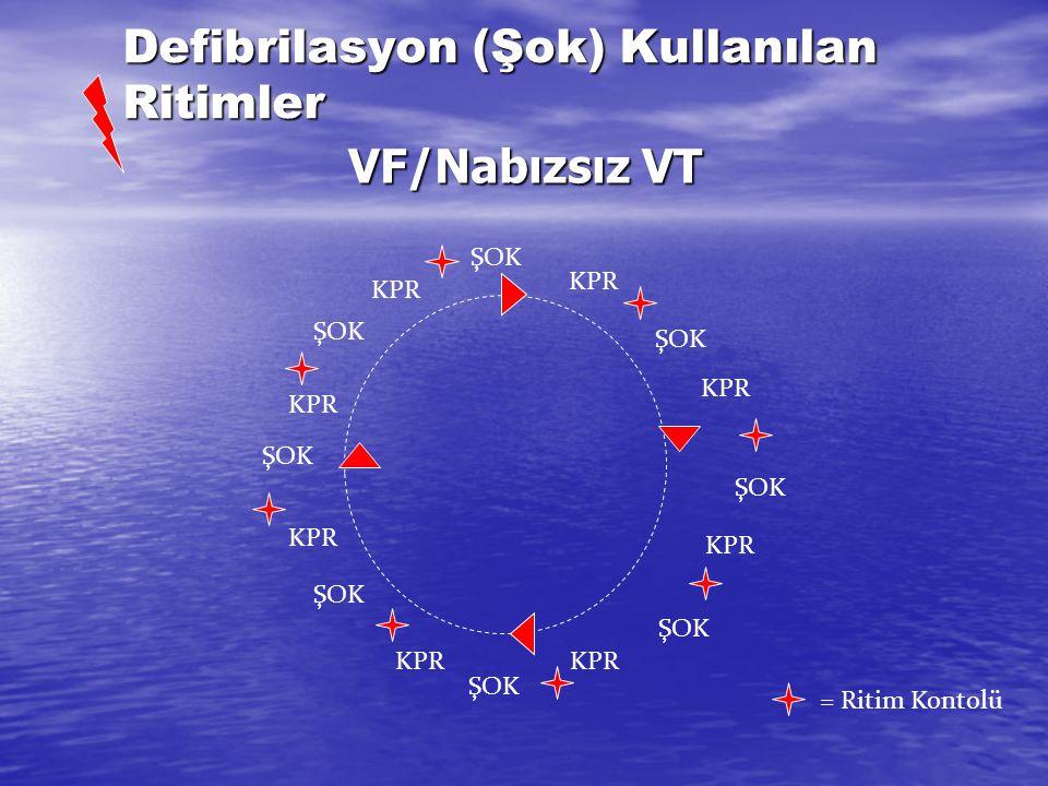 Cevapsızlık? CPR 30:2 2 dk 112 CPR 30:2 Şok gerekli VF/nabızsız VT Ritmi değerlendir Şok gereksiz Asistoli/NEA 1 şok 150-200 J bifazik 360 J monofazik