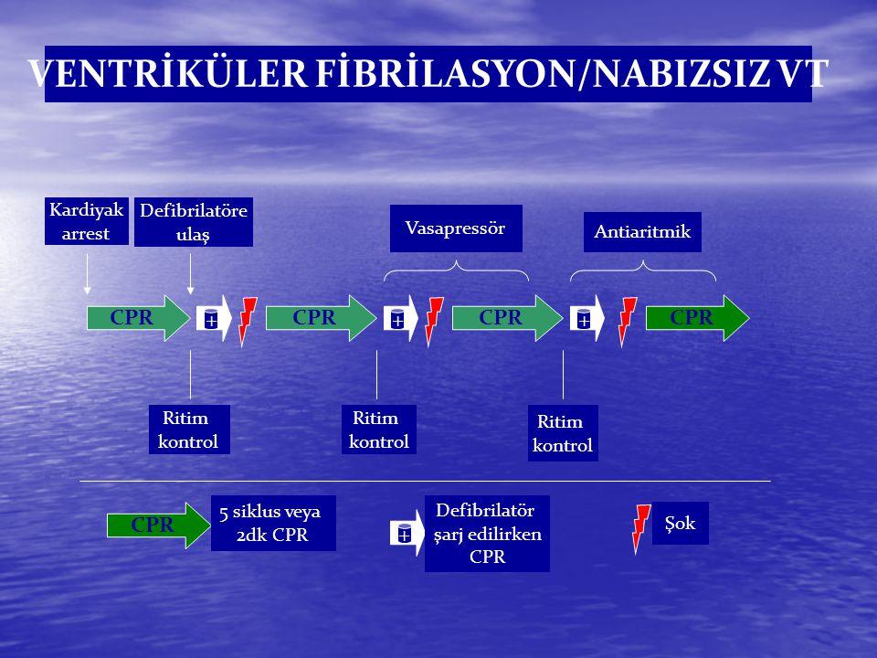 Defibrilasyon (Şok) Kullanılan Ritimler VF/Nabızsız VT ŞOK KPR ŞOK KPR ŞOK = Ritim Kontolü