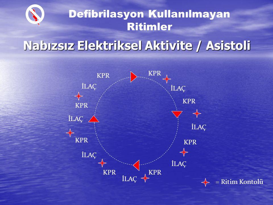 VF/Nabızsız VT İleri Havayolu Desteği sağlanırsa İleri Havayolu Desteği sağlanırsa – Ventilasyon/kompresyon oranlarına bakılmaz – Ventilaston kendi iç