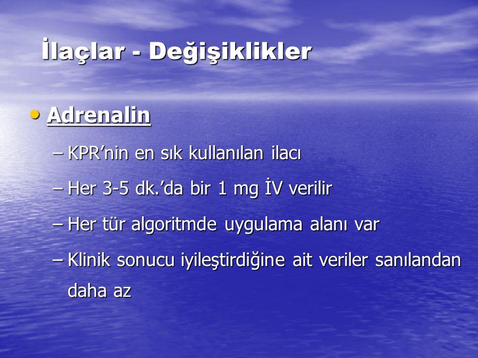 Defibrilasyonun NEA ve Asistolide yararı ve kullanımı yoktur. Nabızsız Elektriksel Aktivite / Asistoli