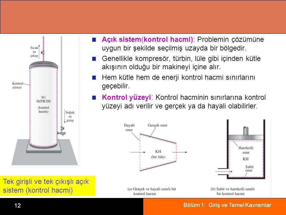 Bölüm 1: Giriş ve Temel Kavramlar 12 Açık sistem(kontrol hacmi): Problemin çözümüne uygun bir şekilde seçilmiş uzayda bir bölgedir.