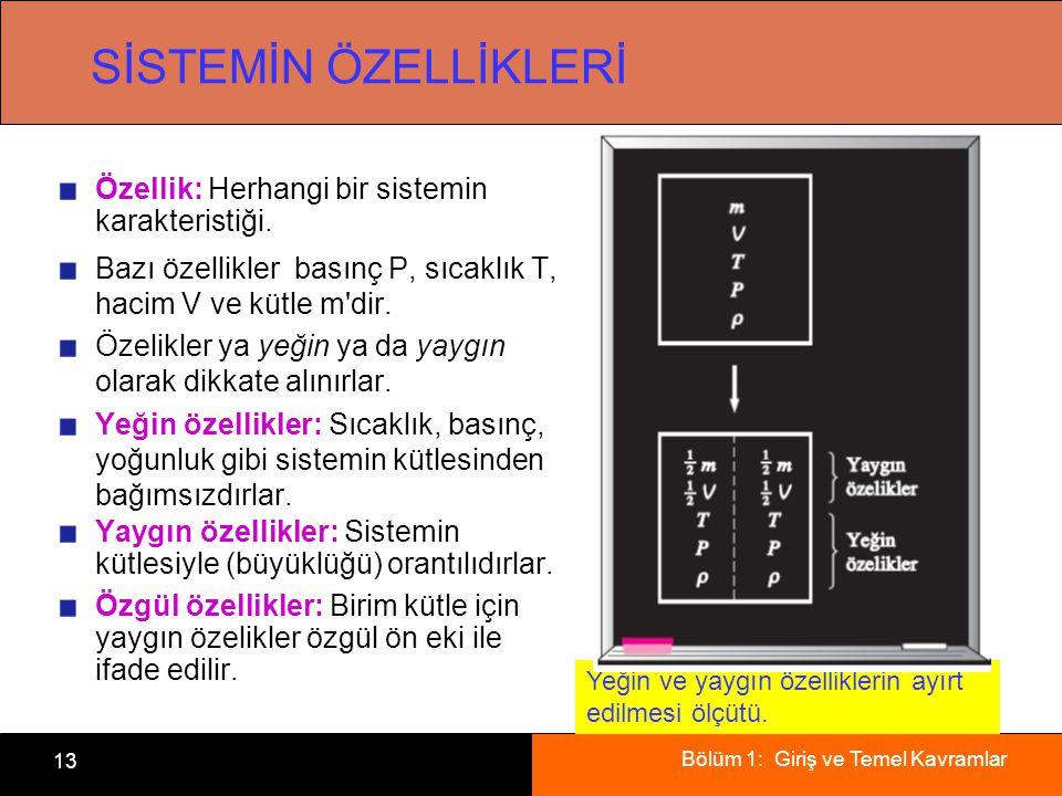 Bölüm 1: Giriş ve Temel Kavramlar 13 SİSTEMİN ÖZELLİKLERİ Özellik: Herhangi bir sistemin karakteristiği.