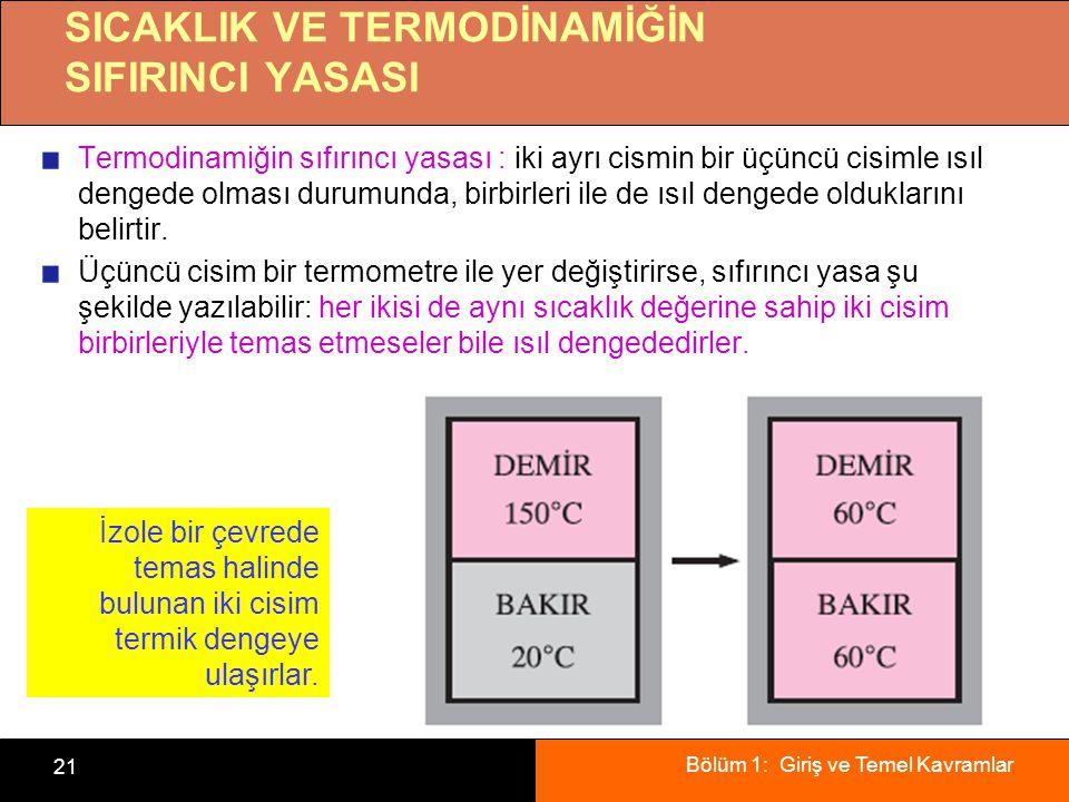 Bölüm 1: Giriş ve Temel Kavramlar 21 SICAKLIK VE TERMODİNAMİĞİN SIFIRINCI YASASI Termodinamiğin sıfırıncı yasası : iki ayrı cismin bir üçüncü cisimle ısıl dengede olması durumunda, birbirleri ile de ısıl dengede olduklarını belirtir.
