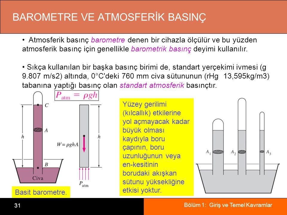 Bölüm 1: Giriş ve Temel Kavramlar 31 BAROMETRE VE ATMOSFERİK BASINÇ Atmosferik basınç barometre denen bir cihazla ölçülür ve bu yüzden atmosferik basınç için genellikle barometrik basınç deyimi kullanılır.