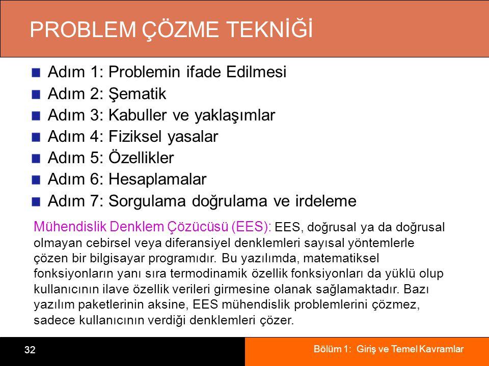 Bölüm 1: Giriş ve Temel Kavramlar 32 PROBLEM ÇÖZME TEKNİĞİ Adım 1: Problemin ifade Edilmesi Adım 2: Şematik Adım 3: Kabuller ve yaklaşımlar Adım 4: Fiziksel yasalar Adım 5: Özellikler Adım 6: Hesaplamalar Adım 7: Sorgulama doğrulama ve irdeleme Mühendislik Denklem Çözücüsü (EES): EES, doğrusal ya da doğrusal olmayan cebirsel veya diferansiyel denklemleri sayısal yöntemlerle çözen bir bilgisayar programıdır.