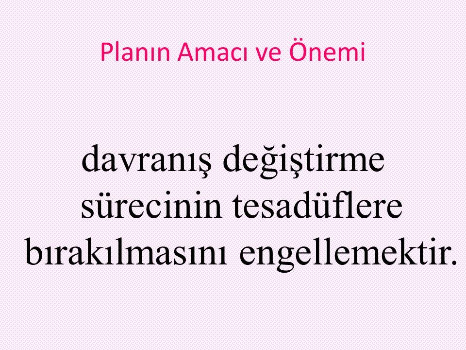 Planın Amacı ve Önemi davranış değiştirme sürecinin tesadüflere bırakılmasını engellemektir.