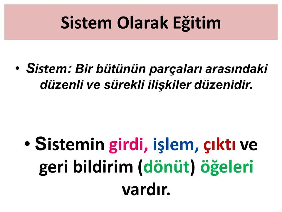 Sistem Olarak Eğitim S istem : Bir bütünün parçaları arasındaki düzenli ve sürekli ilişkiler düzenidir. S istemin girdi, işlem, çıktı ve geri bildirim