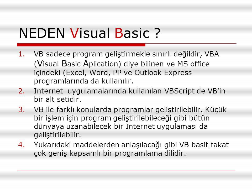 NEDEN Visual Basic ? 1.VB sadece program geliştirmekle sınırlı değildir, VBA ( V isual B asic A plication) diye bilinen ve MS office içindeki (Excel,