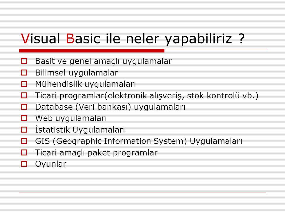 Visual Basic ile neler yapabiliriz ?  Basit ve genel amaçlı uygulamalar  Bilimsel uygulamalar  Mühendislik uygulamaları  Ticari programlar(elektro