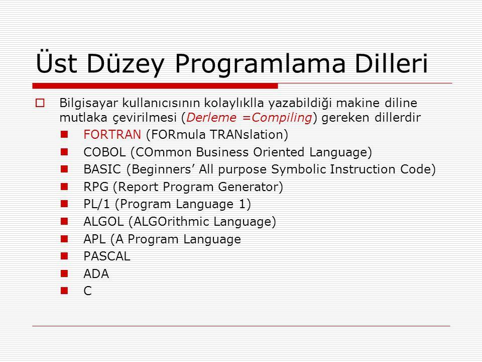 Üst Düzey Programlama Dilleri  Bilgisayar kullanıcısının kolaylıklla yazabildiği makine diline mutlaka çevirilmesi (Derleme =Compiling) gereken dillerdir FORTRAN (FORmula TRANslation) COBOL (COmmon Business Oriented Language) BASIC (Beginners' All purpose Symbolic Instruction Code) RPG (Report Program Generator) PL/1 (Program Language 1) ALGOL (ALGOrithmic Language) APL (A Program Language PASCAL ADA C