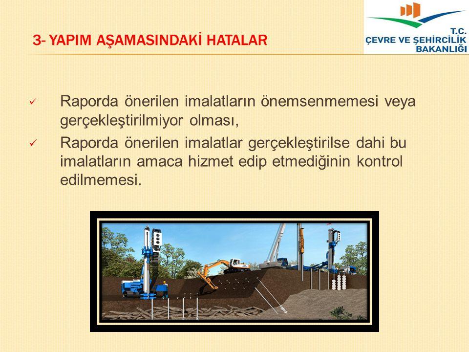 3- YAPIM AŞAMASINDAKİ HATALAR Raporda önerilen imalatların önemsenmemesi veya gerçekleştirilmiyor olması, Raporda önerilen imalatlar gerçekleştirilse