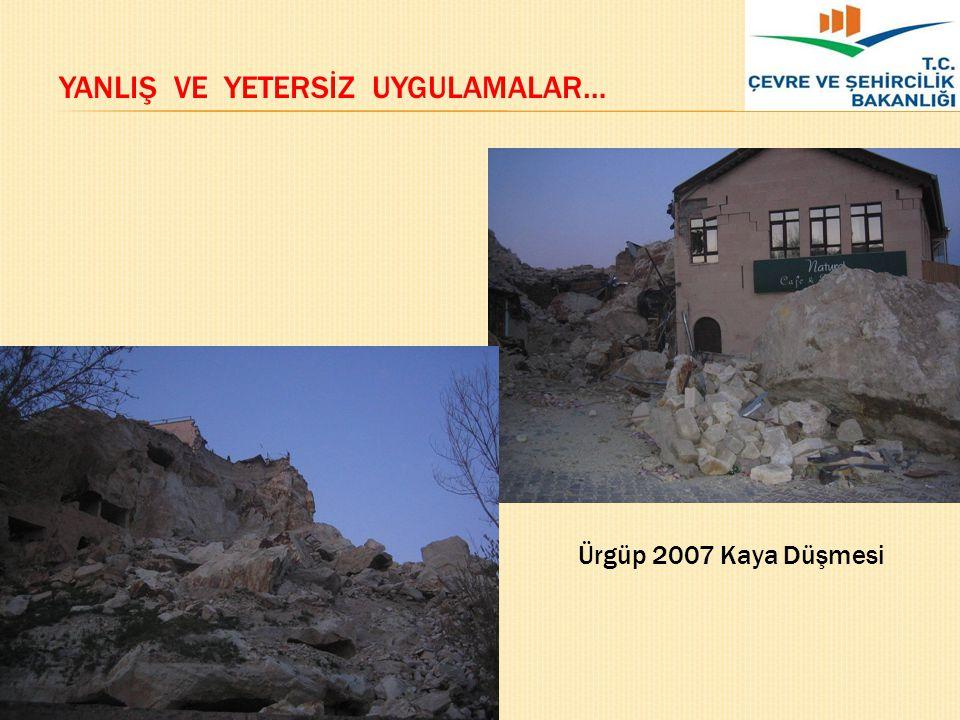 ÜRGÜP KAYA DÜŞMESİ Ürgüp 2007 Kaya Düşmesi YANLIŞ VE YETERSİZ UYGULAMALAR…