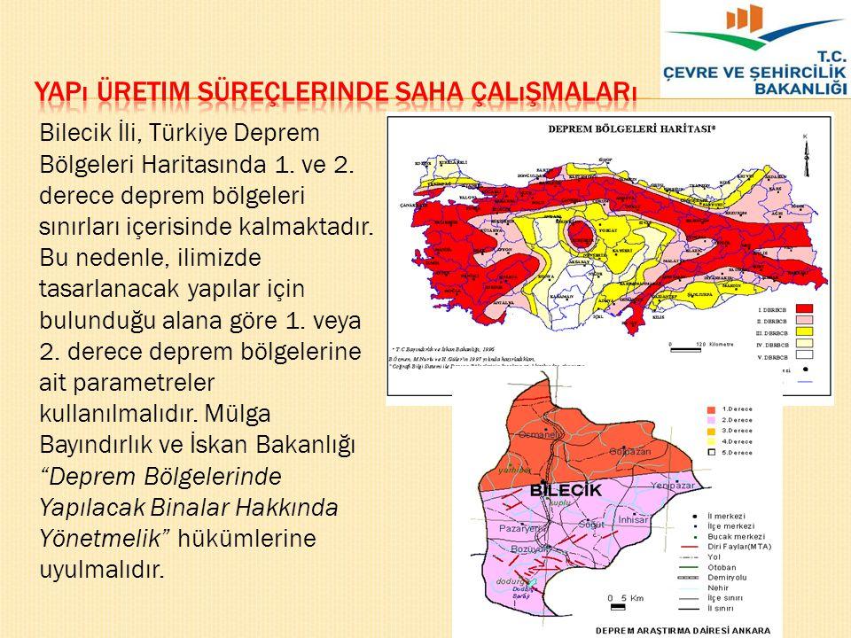 Bilecik İli, Türkiye Deprem Bölgeleri Haritasında 1. ve 2. derece deprem bölgeleri sınırları içerisinde kalmaktadır. Bu nedenle, ilimizde tasarlanacak