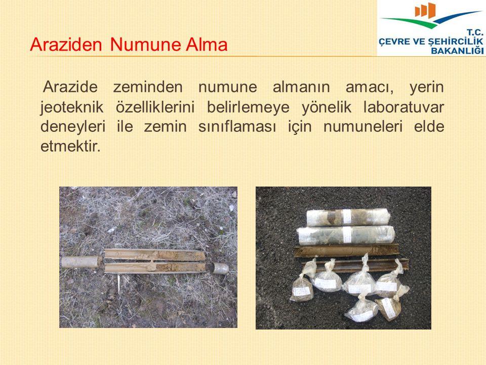 Araziden Numune Alma Arazide zeminden numune almanın amacı, yerin jeoteknik özelliklerini belirlemeye yönelik laboratuvar deneyleri ile zemin sınıflam