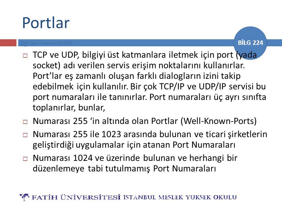 BİLG 224 Portlar  TCP ve UDP, bilgiyi üst katmanlara iletmek için port (yada socket) adı verilen servis erişim noktalarını kullanırlar. Port'lar eş z