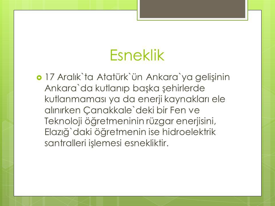 Esneklik  17 Aralık`ta Atatürk`ün Ankara`ya gelişinin Ankara`da kutlanıp başka şehirlerde kutlanmaması ya da enerji kaynakları ele alınırken Çanakkal