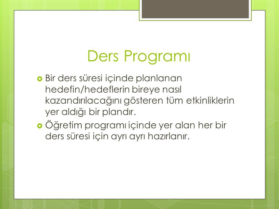 Örtük Program  Öğrencilerin kazanmaları beklenen bilgiler, ilkeler, kurallar, değerler, tutumlar, alışkanlıklar ya da düşünceleri okulun resmi ya da yazılı bir program olmaksızın dolaylı olarak öğrettiği programdır.