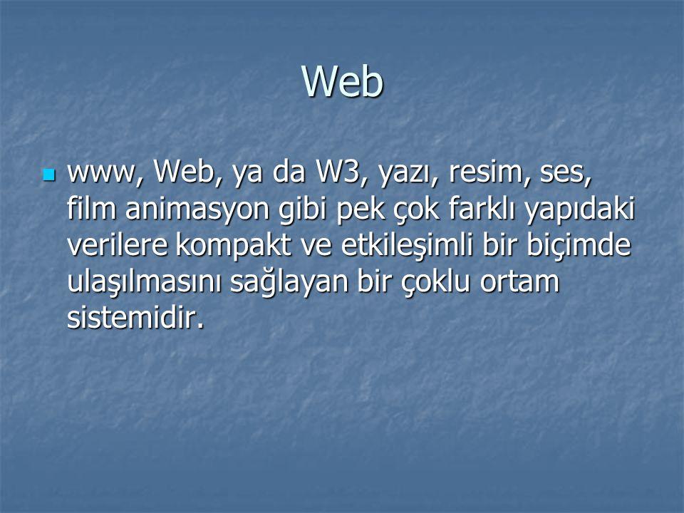 Web www, Web, ya da W3, yazı, resim, ses, film animasyon gibi pek çok farklı yapıdaki verilere kompakt ve etkileşimli bir biçimde ulaşılmasını sağlaya