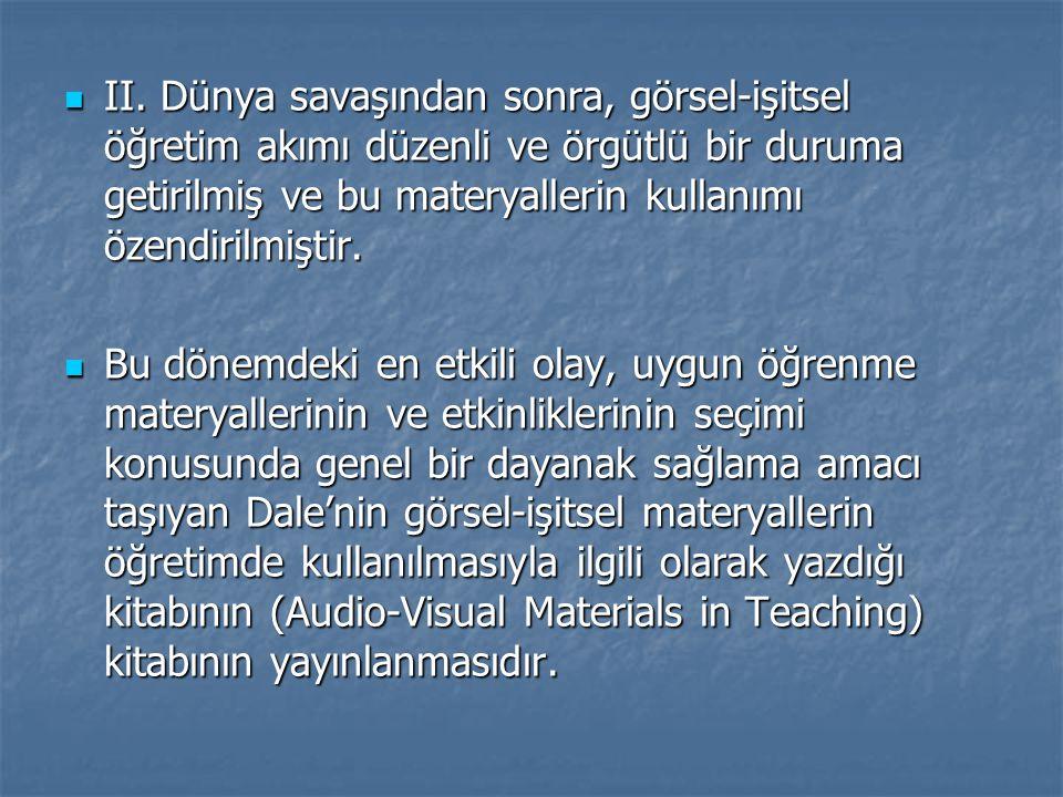 II. Dünya savaşından sonra, görsel-işitsel öğretim akımı düzenli ve örgütlü bir duruma getirilmiş ve bu materyallerin kullanımı özendirilmiştir. II. D