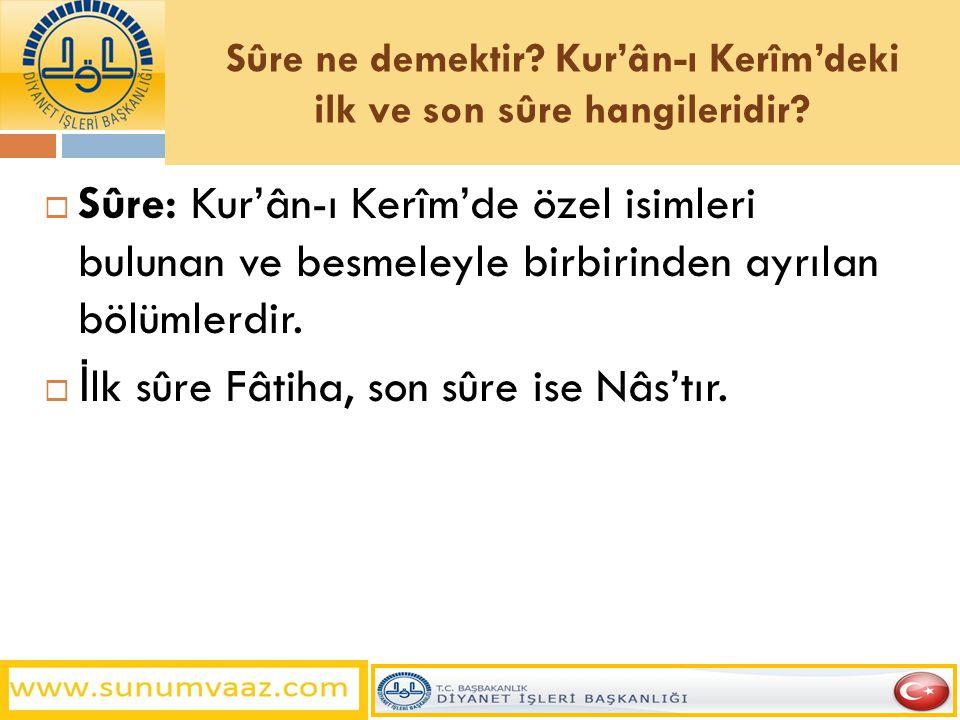 Sûre ne demektir? Kur'ân-ı Kerîm'deki ilk ve son sûre hangileridir?  Sûre: Kur'ân-ı Kerîm'de özel isimleri bulunan ve besmeleyle birbirinden ayrılan