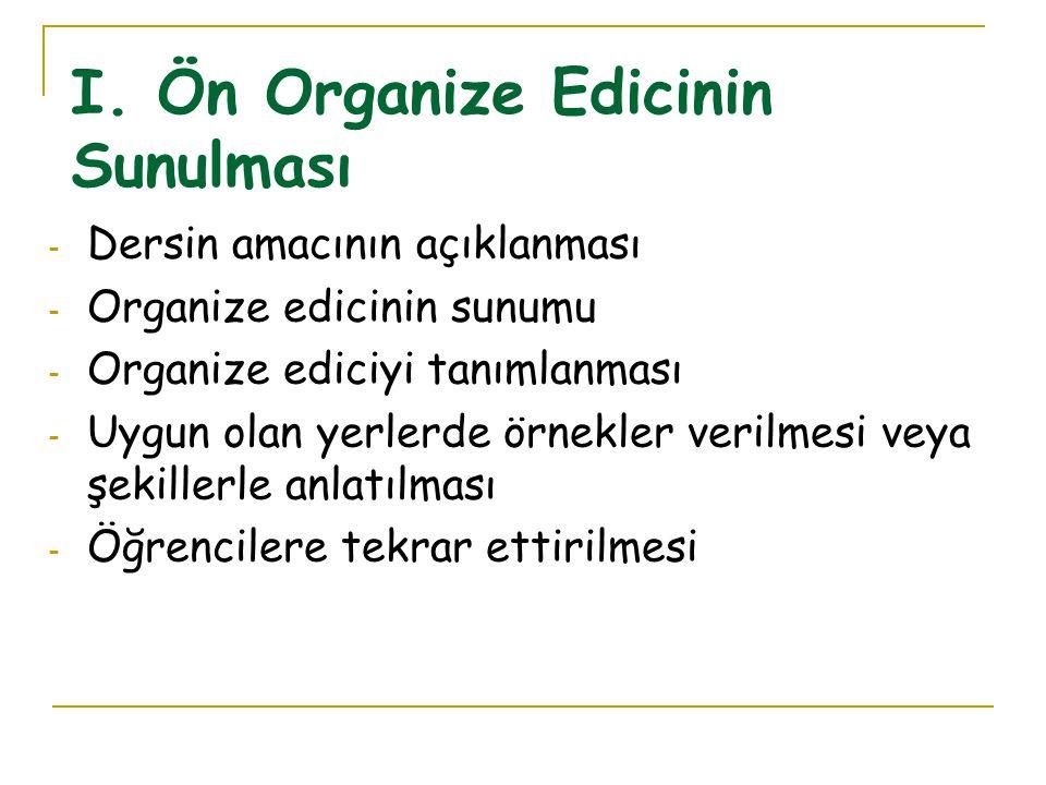 - Ön organize edicilerin sunulması (başlangıç) - Öğrenilecek yeni konunun, materyalin sunulması (gelişme) - Bilişsel yapının güçlendirilmesi. Aşamalar