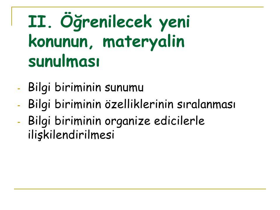 I. Ön Organize Edicinin Sunulması - Dersin amacının açıklanması - Organize edicinin sunumu - Organize ediciyi tanımlanması - Uygun olan yerlerde örnek