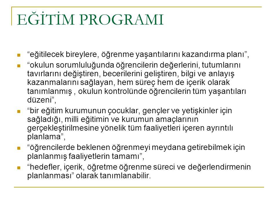"""EĞİTİM PROGRAMI """"Okulun ve öğretmenin yol göstericiliği altında, okul içi ve okul dışındaki bütün öğrenme ve öğretim faaliyetlerini içine alır. Öğrenc"""