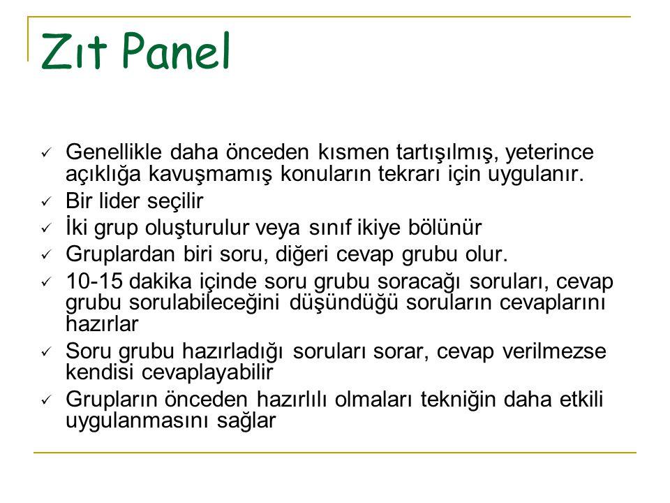 Panel modelinde amaç, bir grup öğrencinin (5-10 kişi) belirli bir konuda sınıftaki diğer öğrencileri derinlemesine bilgilendirmesidir. Paneli oluştura
