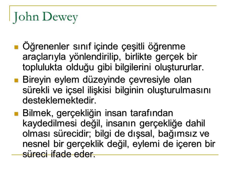 Yapılandırmacılığın Kuramsal Boyutu Yapılandırmacılığın gelişimine katkıda bulunan önemli düşünür ve araştırmacılar: John Dewey John Dewey Jean Piaget