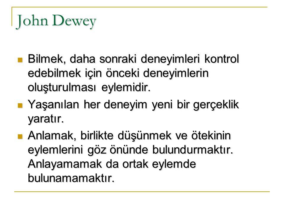 John Dewey Öğrenenler sınıf içinde çeşitli öğrenme araçlarıyla yönlendirilip, birlikte gerçek bir toplulukta olduğu gibi bilgilerini oluştururlar. Öğr