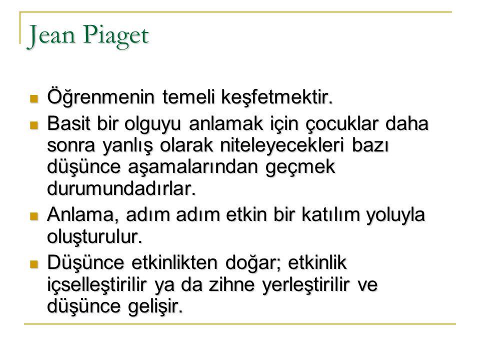 Jean Piaget Piaget, bireyin bilişsel gelişimiyle çevresini ilişkilendirmiştir, dahası bilginin bu ilişkiden doğduğunu; bilginin bireyin kendisi tarafından bilinçli ve etkin bir şekilde oluşturulduğunu belirtmiştir.