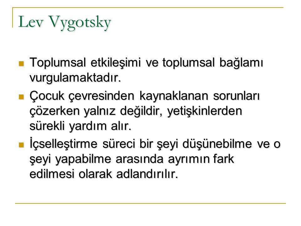 Lev Vygotsky Vygotsky'nin, çocukların kendi kavramlarını oluşturduğunu vurgulaması nedeniyle temelde oluşturmacı olduğu söylenebilir. Vygotsky, çocukl