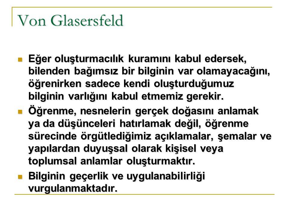 Von Glasersfeld Yapılandırmacılık, eğitim alanında dünyayı sarsacak yenilikler yapma iddiasında değildir.