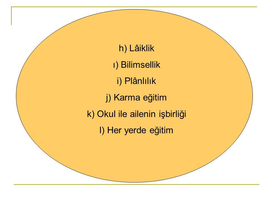 Türk Millî Eğitiminin Temel İlkeleri a) Genellik ve eşitlik b) Ferdin ve toplumun ihtiyaçları c) Yöneltme d) Eğitim hakkı e) Fırsat ve imkân eşitliği