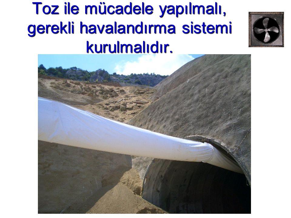 Toz ile mücadele yapılmalı, gerekli havalandırma sistemi kurulmalıdır.