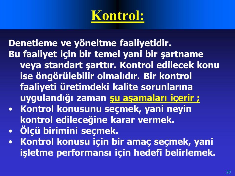 20 Kontrol: Denetleme ve yöneltme faaliyetidir. Bu faaliyet için bir temel yani bir şartname veya standart şarttır. Kontrol edilecek konu ise öngörüle