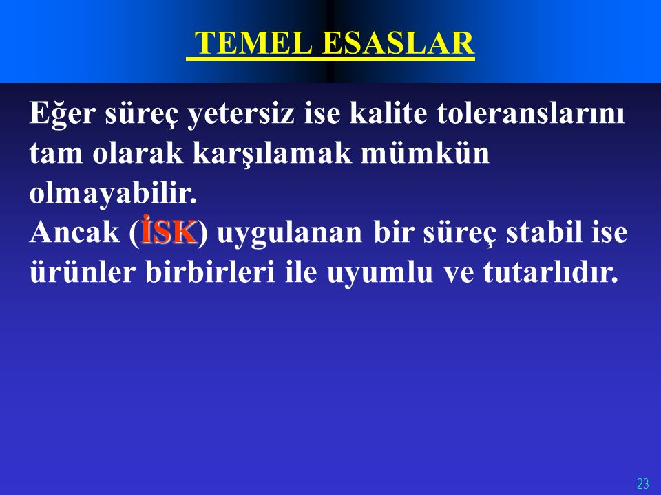 23 TEMEL ESASLAR Eğer süreç yetersiz ise kalite toleranslarını tam olarak karşılamak mümkün olmayabilir. İSK Ancak (İSK) uygulanan bir süreç stabil is