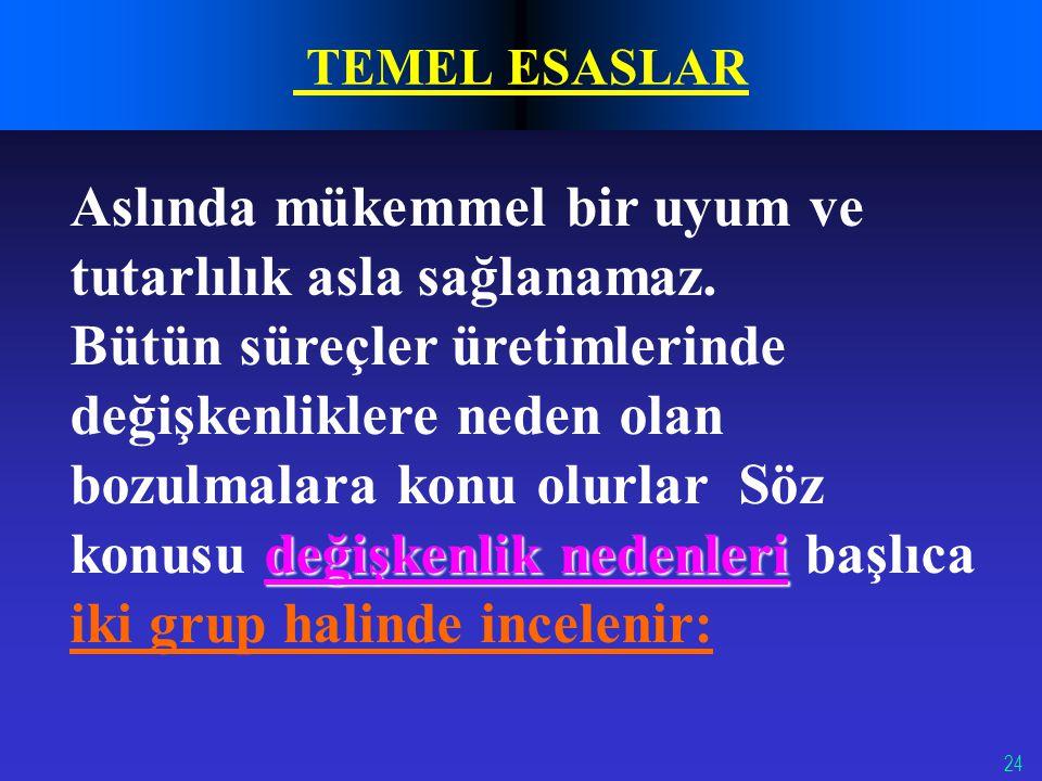 24 TEMEL ESASLAR Aslında mükemmel bir uyum ve tutarlılık asla sağlanamaz.