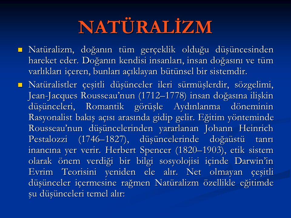 NATÜRALİZM Natüralizm, doğanın tüm gerçeklik olduğu düşüncesinden hareket eder. Doğanın kendisi insanları, insan doğasını ve tüm varlıkları içeren, bu