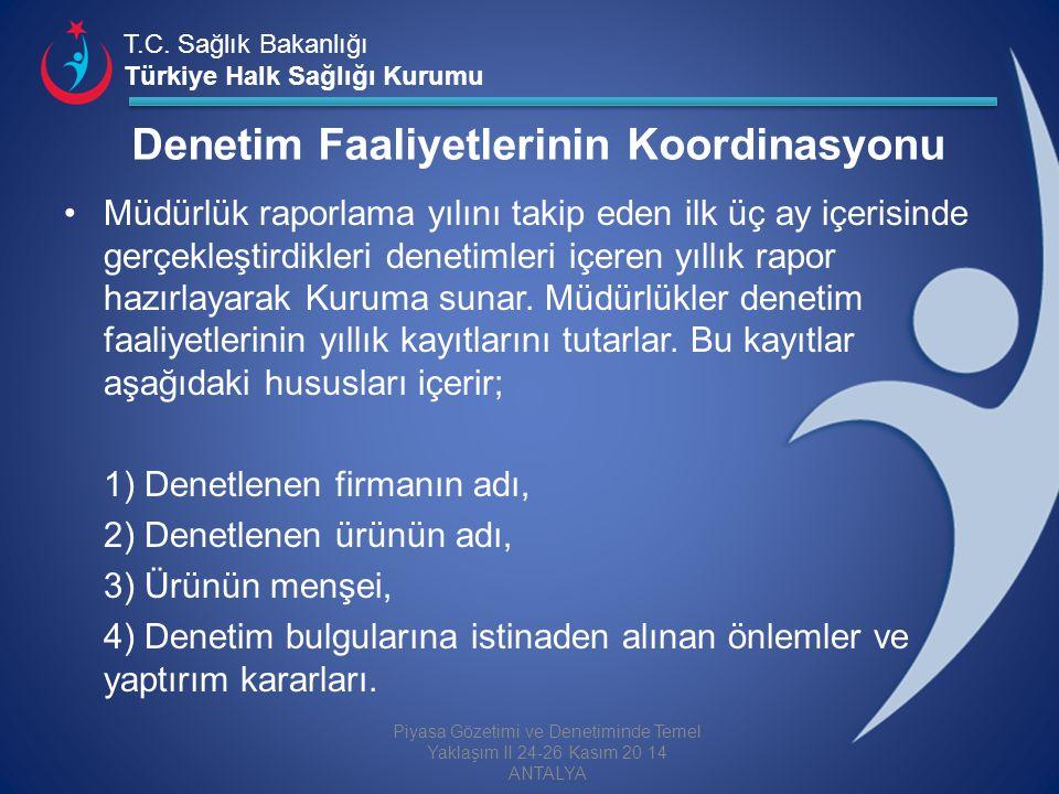 T.C. Sağlık Bakanlığı Türkiye Halk Sağlığı Kurumu Denetim Faaliyetlerinin Koordinasyonu Müdürlük raporlama yılını takip eden ilk üç ay içerisinde gerç