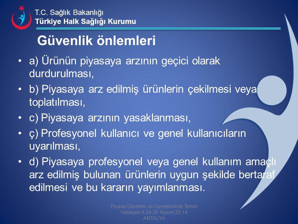 T.C. Sağlık Bakanlığı Türkiye Halk Sağlığı Kurumu Güvenlik önlemleri a) Ürünün piyasaya arzının geçici olarak durdurulması, b) Piyasaya arz edilmiş ür