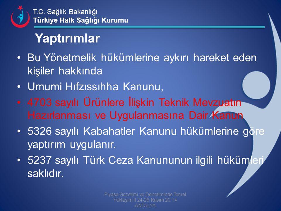 T.C. Sağlık Bakanlığı Türkiye Halk Sağlığı Kurumu Yaptırımlar Bu Yönetmelik hükümlerine aykırı hareket eden kişiler hakkında Umumi Hıfzıssıhha Kanunu,