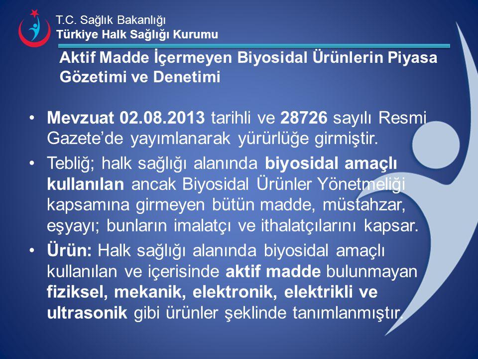 T.C. Sağlık Bakanlığı Türkiye Halk Sağlığı Kurumu Aktif Madde İçermeyen Biyosidal Ürünlerin Piyasa Gözetimi ve Denetimi Mevzuat 02.08.2013 tarihli ve