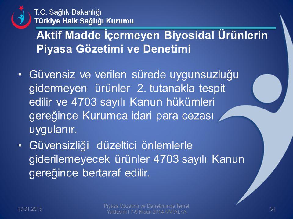 T.C. Sağlık Bakanlığı Türkiye Halk Sağlığı Kurumu Güvensiz ve verilen sürede uygunsuzluğu gidermeyen ürünler 2. tutanakla tespit edilir ve 4703 sayılı