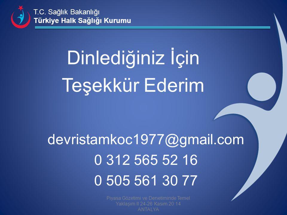 T.C. Sağlık Bakanlığı Türkiye Halk Sağlığı Kurumu devristamkoc1977@gmail.com 0 312 565 52 16 0 505 561 30 77 Piyasa Gözetimi ve Denetiminde Temel Yakl